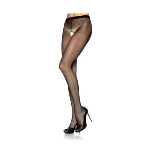 Collant velato  aperto plus size hosiery sheer crotchless black