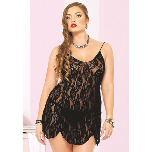 Babydoll plus size rose lace flair black