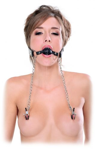 Morso e strizzacapezzoli fetish fantasy extreme Deluxe Ball Gag and Nipple Clamps