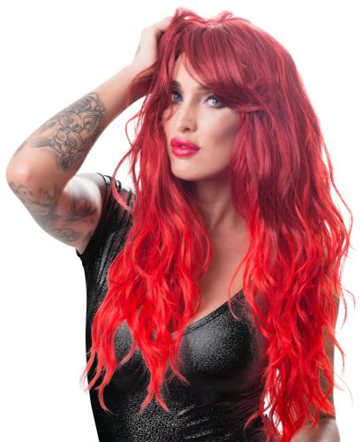 Parrucca rossa Wig, red, wavy, long