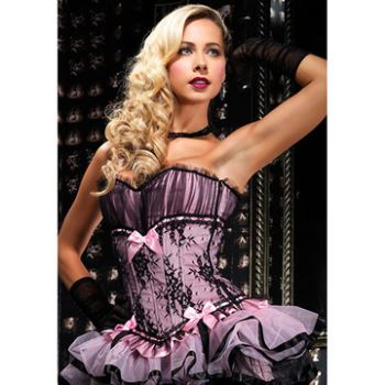 CORSETTO BURLESQUE RIVESTITO DI TULLE