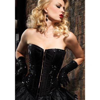 CORSETTO IN PAILLETTES NERO