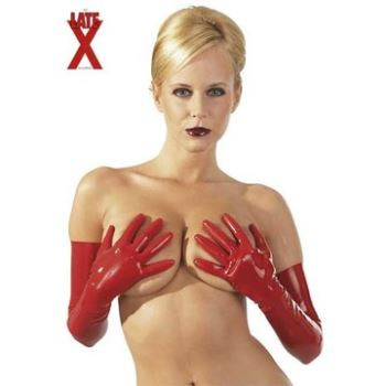 GUANTI ROSSI LUNGHI IN LATEX